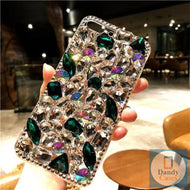 Chunky Crystal Gem Emerald Green and Diamond Handmade Faux Stone Case For iPhone 11 Pro X XS MAX XR 5S 6S 7 8 PLUS