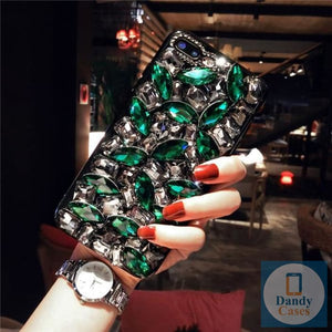 Chunky Crystal Gem Emerald Green and White Diamond Handmade Faux Stone Case For iPhone 11 Pro X XS MAX XR 5S 6S 7 8 PLUS