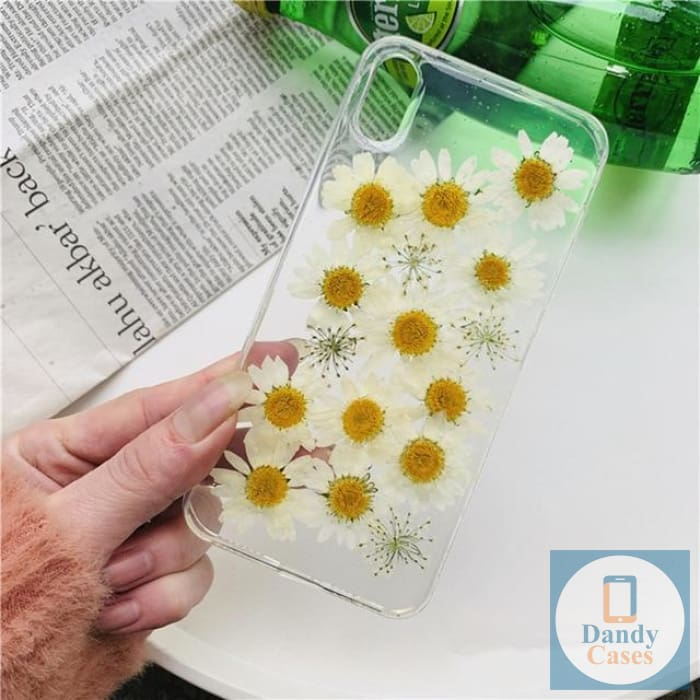 Daisy Party Handmade Real Dried Flower Phone Case For iPhone 6 6S 7 8 Plus X XS Max XR 11 pro max