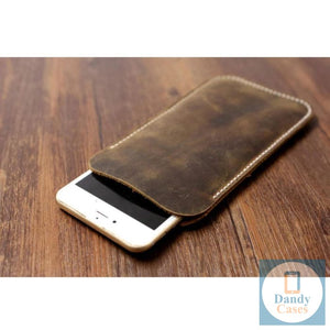 Distressed Brown Leather Phone Case for iPhone