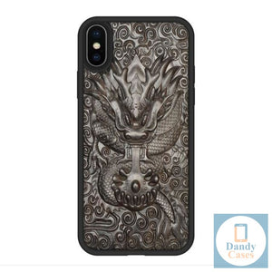 Dragon Handmade Luxury Carved Asian-Themed Ebony Wood Case for iPhone X XR XS Max
