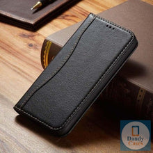 Load image into Gallery viewer, Genuine Leather Magnet Flip Wallet Phone Case For iPhone