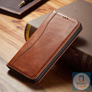 Genuine Leather Magnet Flip Wallet Phone Case For iPhone