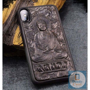 Handmade Luxury Carved Asian-Themed Ebony Wood Case for iPhone X XR XS Max