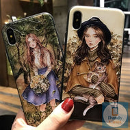 It Girl Hand-Painted Embossed Phone Case For iPhone 6 6s Pus X XS 7 8 Plus