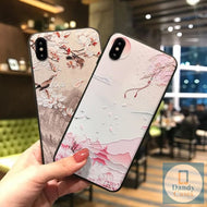Japanese Landscape Hand-Painted Embossed Phone Case For iPhone