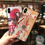 Kimono Girl Hand-Painted Embossed Phone Case for iPhone 6 6S 7 8 Plus X XS MAX XR