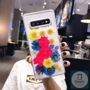 Multicolor Flower Power Handmade Real Dried Purple and White Flower Phone Case For Samsung Galaxy S10 S9 S8 Edge S9 Plus Note 8 9 10 Pro