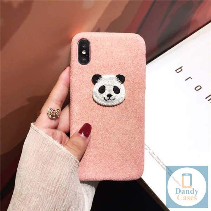 Panda Panda Embroidered Handmade Phone Case For iPhone