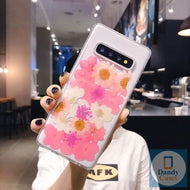 Pink Flower Power Handmade Real Dried Purple and White Flower Phone Case For Samsung Galaxy S10 S9 S8 Edge S9 Plus Note 8 9 10 Pro