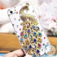 Poppin Peacock Handmade Crystal-Studded Phone Case for Samsung Galaxy S10 S10 PLUS Lite iPhone Xs max Xr Xs 8 7 6S PLUS