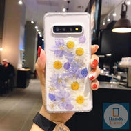 Purple and White Flower Power Handmade Real Dried Purple and White Flower Phone Case For Samsung Galaxy S10 S9 S8 Edge S9 Plus Note 8 9 10