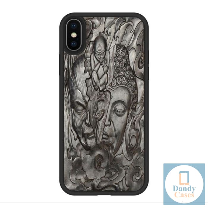 Rebirth Handmade Luxury Carved Asian-Themed Ebony Wood Case for iPhone X XR XS Max