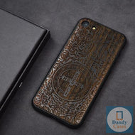 St. Benedict Medal Dark Ebony Handmade Engraved Wood Phone Case for iPhone 7 Plus 6 6S 8 Plus