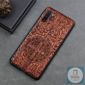 St. Benedict Medal Handcrafted Engraved Wood Phone Case for Samsung Galaxy Note 10 9 S10 S9 Plus