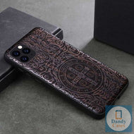 St. Benedicts Medal Dark Ebony Handmade Engraved Wood Phone Case for iPhone 11 Pro Max