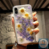 The Floral Life Handmade Real Dried Purple and White Flower Phone Case For iPhone 11 Pro X XS MAX XR 8 7 6S Plus