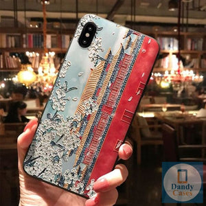 The Forbidden City Hand-Painted Artisan Embossed Phone Case For iPhone