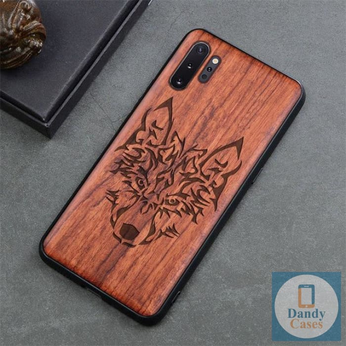 Wolf Handcrafted Engraved Wood Phone Case for Samsung Galaxy Note 10 9 S10 S9 Plus