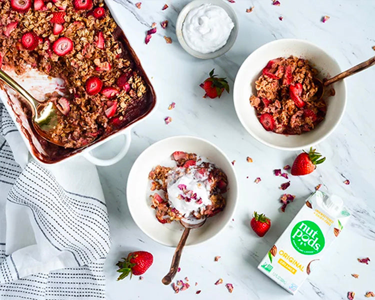 Strawberry Rhubarb Baked Oatmeal & Coconut Whipped Cream