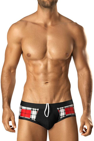 Vuthy 281 Red Plaid with Black Waist Swim Brief