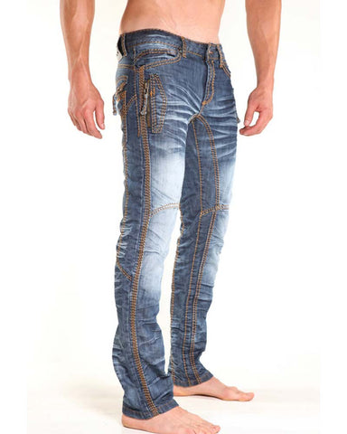 Nuwear KM085  Zip Tight Light Wash Designer Jean  with Gold