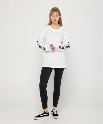 white long sleeve loose fit lettering T-shirt