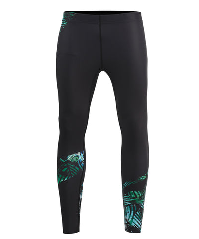 green leaf pattern leggings