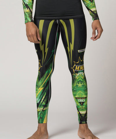 green bjj mma jiusitsu compression leggings