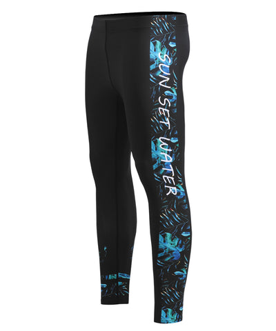 blue surf summer compression leggings