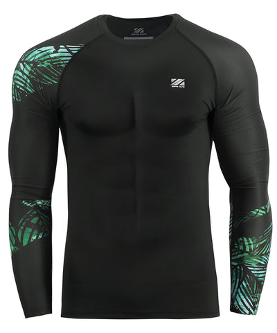 green leaf pattern bjj compression rash guard tee