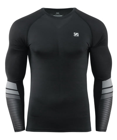 stripe compression activewear long sleeve rash guard