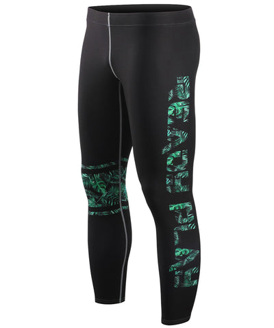 green tight fit compression summer leggings