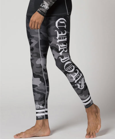 camo pattern & white stripe tight leggings