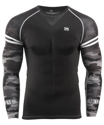 black camo pattern tight fit rash guard
