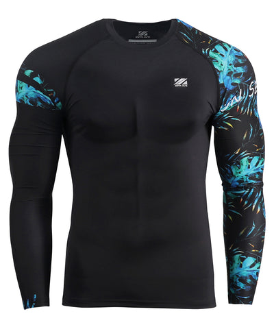 blue summer pattern long sleeve rash guard