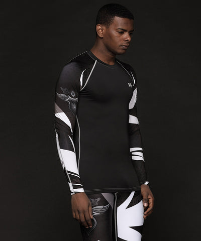 black compression tight fit shirt