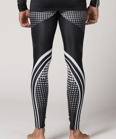 white stripe&dot pattern bjj mma gymwear leggings