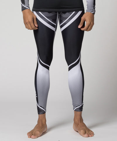 white stripe compression leggings