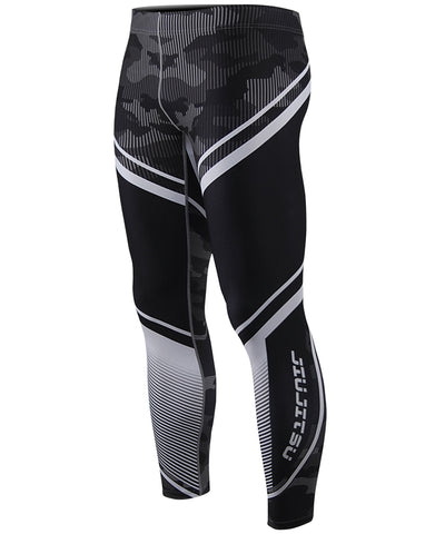 camo pattern & white stripe mens compression tight leggings