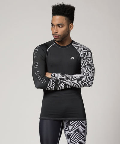 black pattern compression tshirts