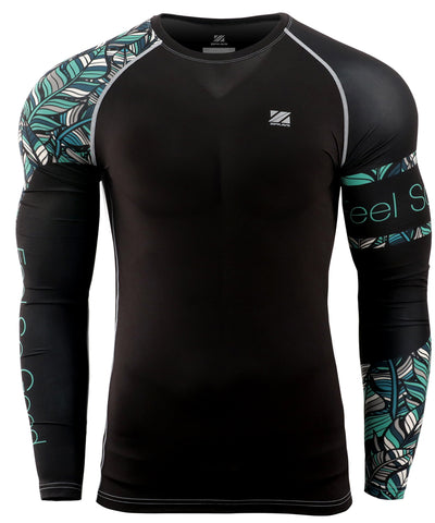 green leaf surf compression long sleeve rash guard