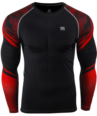 red compression tight fit long sleeve shirts
