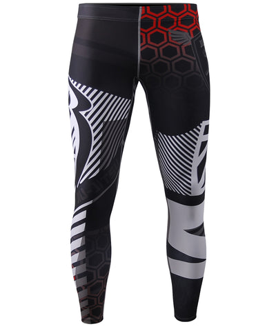 white line design unique rashguard compression tights