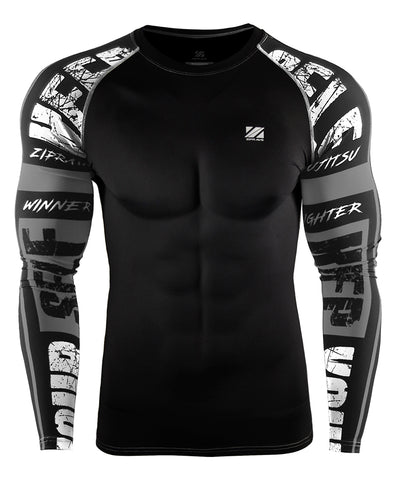 gray bjj mma compression rshguard for men
