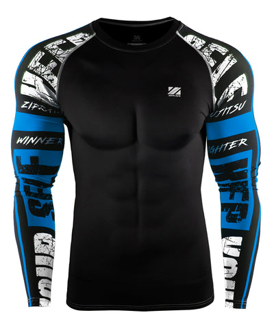 blue compression activewear tight fit long sleeve