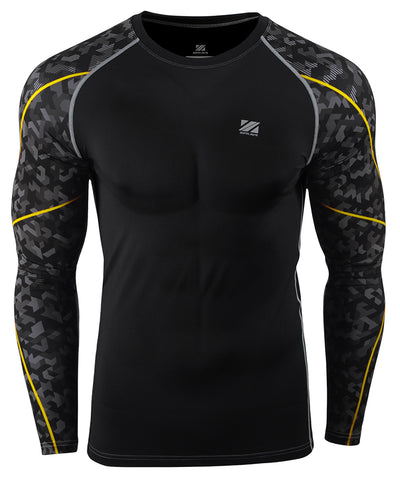 black camo pattern&yellow line design rash guard