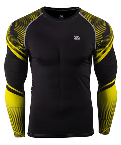 yellow camo pattern compression rash guard