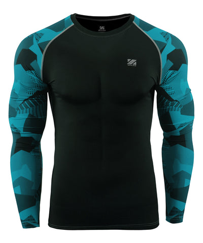blue pattern compression gymwear rash guard