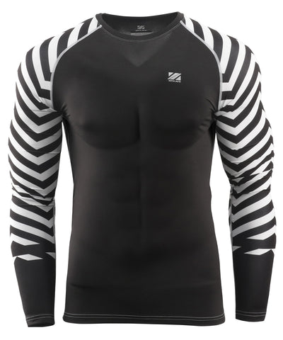 whtie stripe pattern design compression rash guard